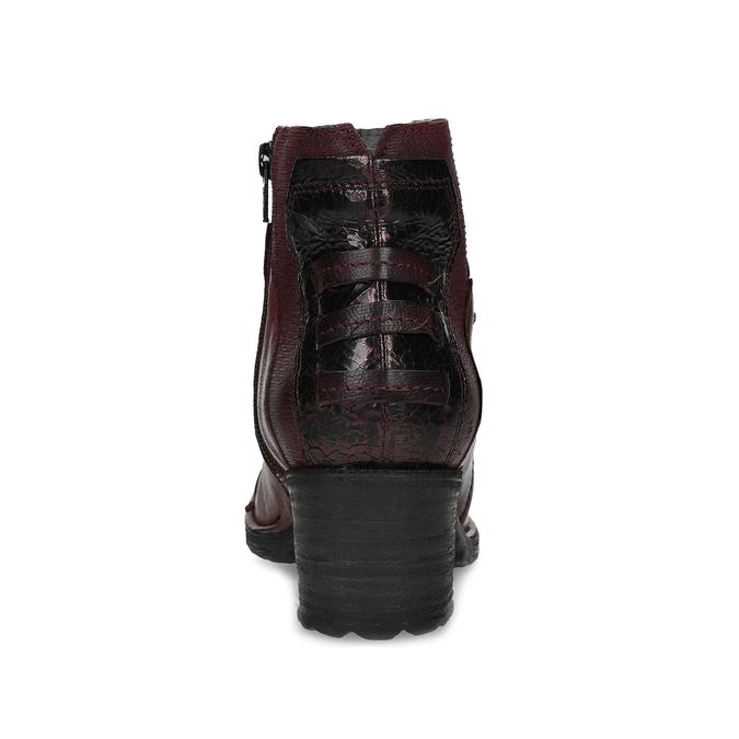 Kožená kotníčková obuv vínová bata, červená, 696-5666 - 15