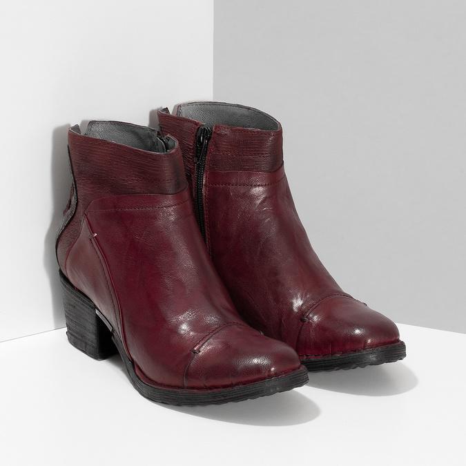 Kožená kotníčková obuv vínová bata, červená, 696-5666 - 26