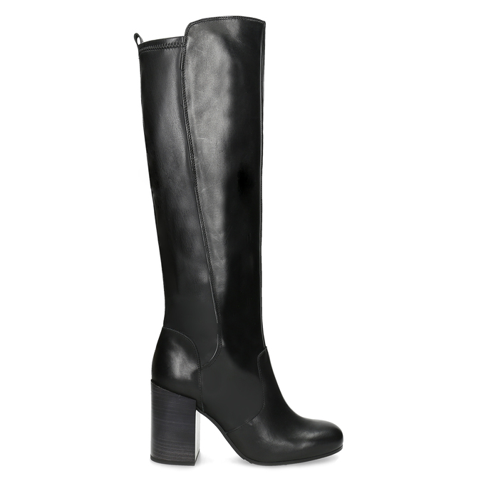 Černé kožené kozačky na podpatku bata, černá, 796-6662 - 19