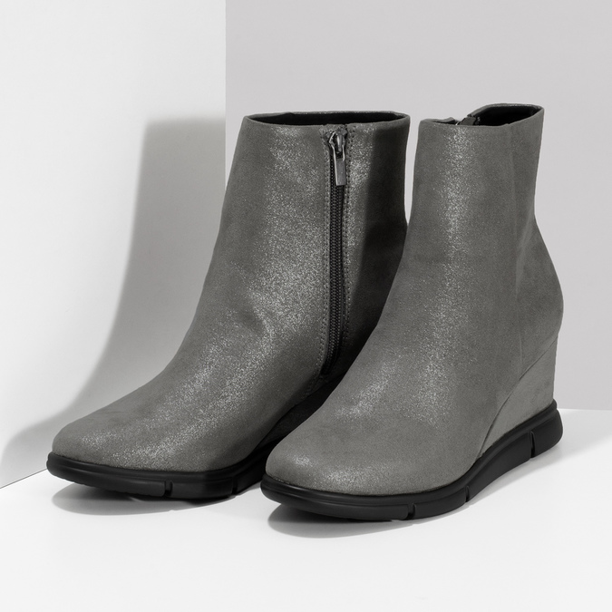 Dámská kotníčková obuv na klínku stříbrná bata-b-flex, stříbrná, 799-2642 - 16