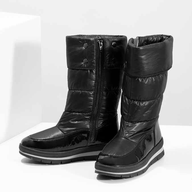 Dámská černá zimní obuv  s výraznou podešví bata, černá, 599-6622 - 16