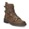Hnědá kožená kotníková obuv s přezkami bata, hnědá, 596-4735 - 13