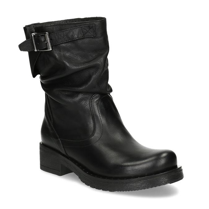 Kožené dámské kozačky s přezkou bata, černá, 594-6719 - 13