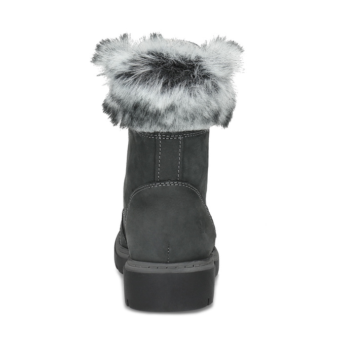 Dámská kožená zimní obuv s kožíškem weinbrenner, černá, 596-6748 - 15