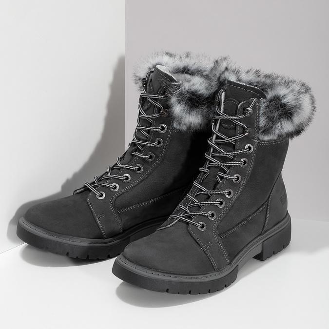 Dámská kožená zimní obuv s kožíškem weinbrenner, černá, 596-6748 - 16