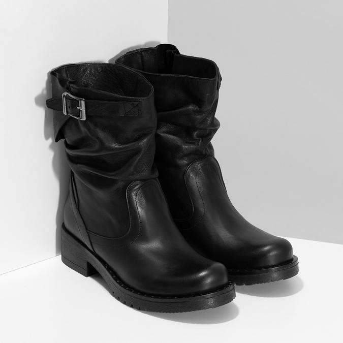 Kožené dámské kozačky s přezkou bata, černá, 594-6719 - 26