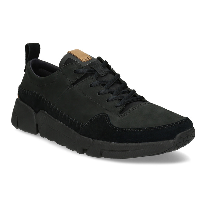 Clarks Černé pánské kožené tenisky - Všechny boty  7a1fa4c71c