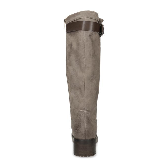 Béžové dámské kozačky s kožíškem bata, hnědá, 691-3643 - 15