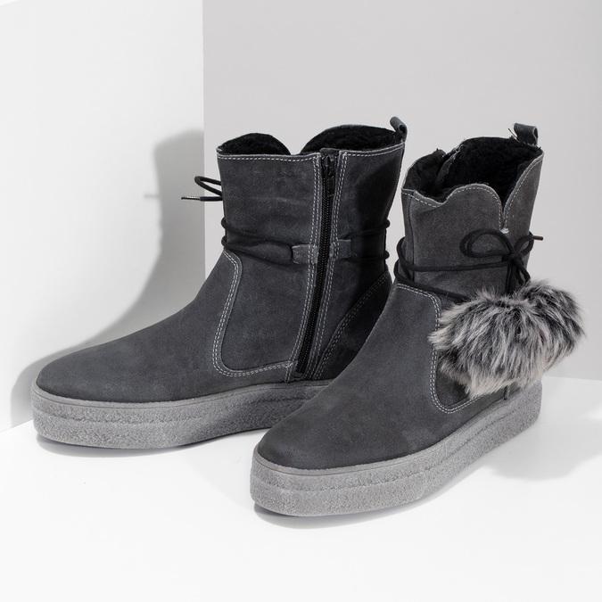 Šedá dámská kožená zimní obuv weinbrenner, šedá, 596-2749 - 16