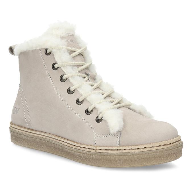 Kožená kotníčková zimní obuv s kožíškem weinbrenner, béžová, 596-8730 - 13