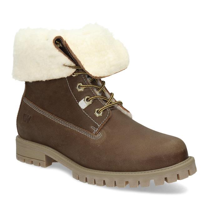 Dámská hnědá kožená zimní obuv weinbrenner, hnědá, 596-3743 - 13