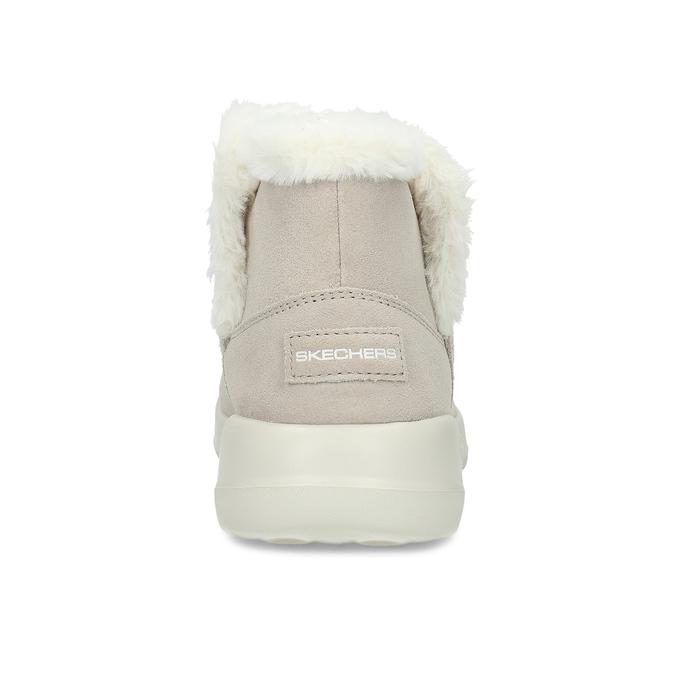 Kožená zimní obuv s kožíškem béžová skechers, béžová, 503-8124 - 15