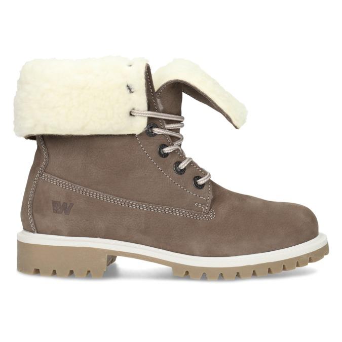 Hnědá dámská kožená zimní obuv weinbrenner, hnědá, 596-4727 - 19