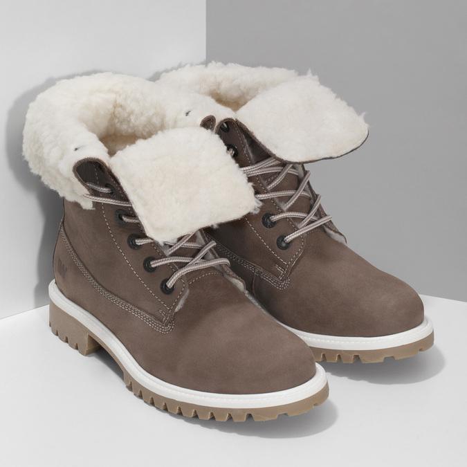 Hnědá dámská kožená zimní obuv weinbrenner, hnědá, 596-4727 - 26