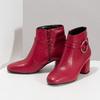 Červené kožené kotníčkové kozačky s přezkou bata, červená, 794-5608 - 16