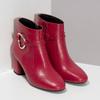 Červené kožené kotníčkové kozačky s přezkou bata, červená, 794-5608 - 26