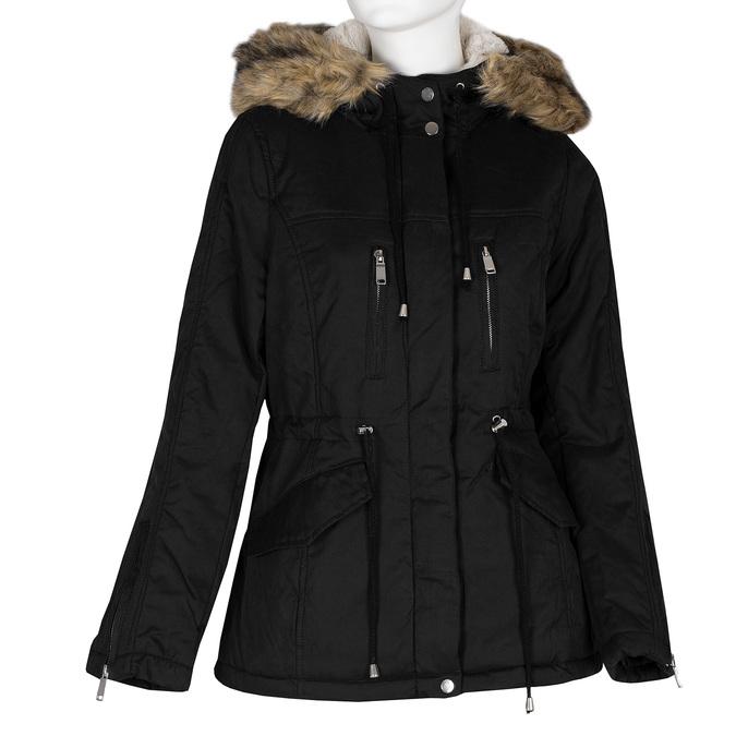 Černá dámská bunda s kapucí a kožíškem bata, černá, 979-6321 - 13