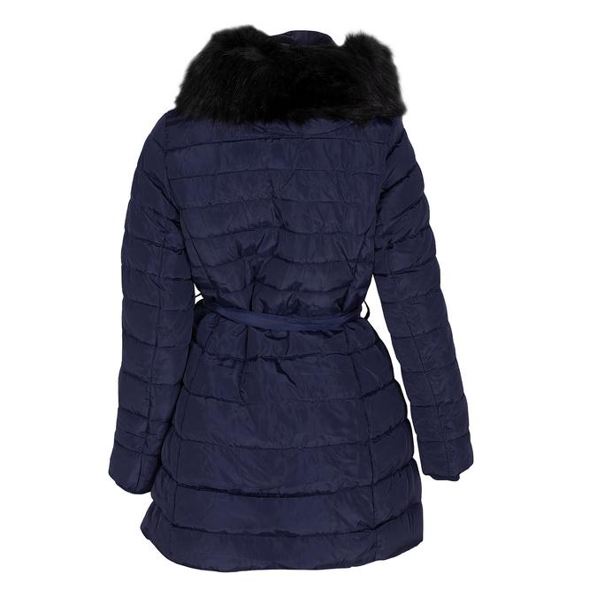 Dlouhá dámská prošívaná bunda s kožíškem bata, modrá, 979-9325 - 26