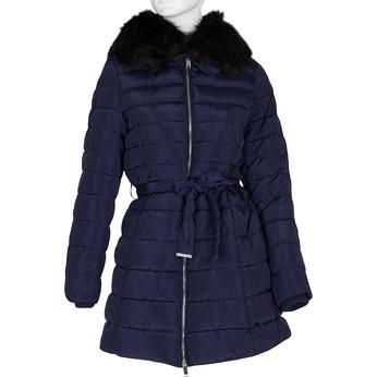 Dlouhá dámská prošívaná bunda s kožíškem bata, modrá, 979-9325 - 13