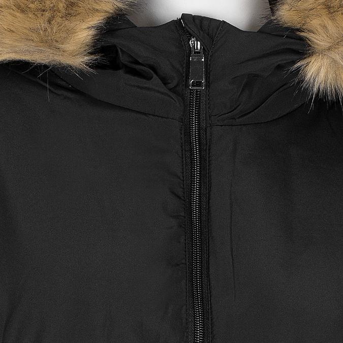 Dlouhá dámská bunda s kapucí a kožíškem bata, černá, 979-6355 - 16