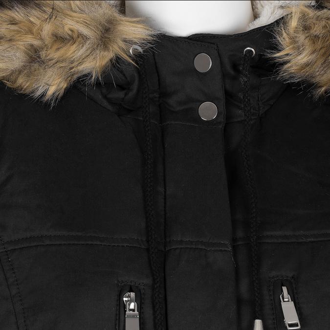 Černá dámská bunda s kapucí a kožíškem bata, černá, 979-6321 - 16