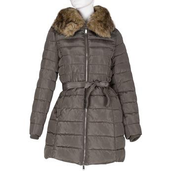 Dámská khaki bunda s prošíváním a kožíškem bata, hnědá, 979-8325 - 13