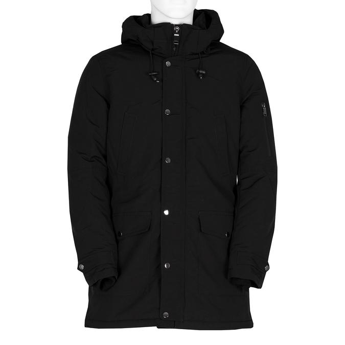Dlouhá pánská černá bunda s kapucí bata, černá, 979-6366 - 13