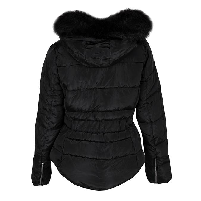 Dámská černá bunda s kapucí a kožíškem bata, černá, 979-6332 - 26