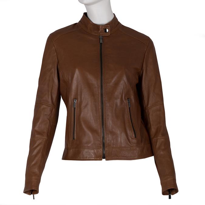 Dámská kožená hnědá bunda se stojáčkem bata, hnědá, 974-3106 - 13