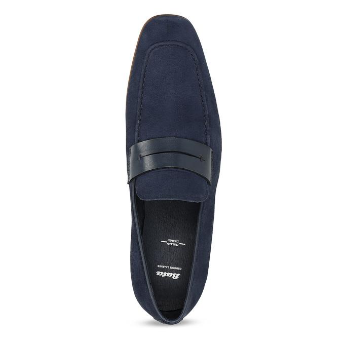 Modré mokasíny z broušené kůže bata, modrá, 813-9600 - 17