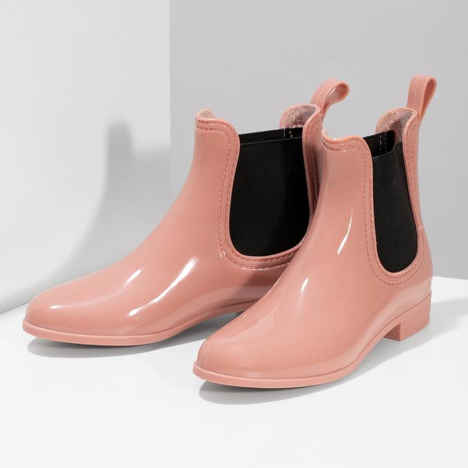 Béžové Chelsea kotníčkové holínky bata, růžová, 592-5610 - 16