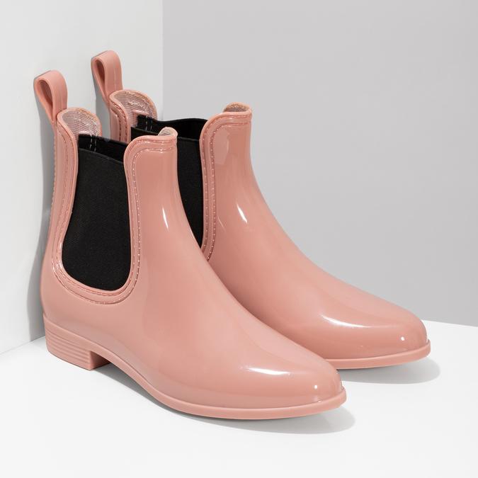 Béžové Chelsea kotníčkové holínky bata, růžová, 592-5610 - 26