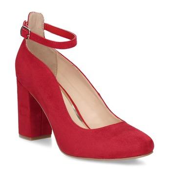 Červené dámské lodičky na stabilním podpatku bata-red-label, červená, 729-5635 - 13