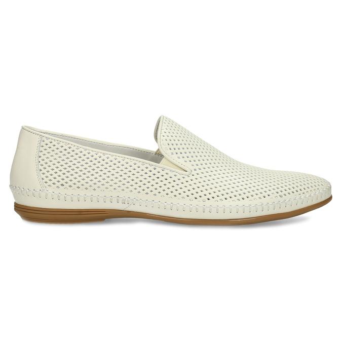 Bílé kožené pánské Loafers bata, bílá, 834-1627 - 19