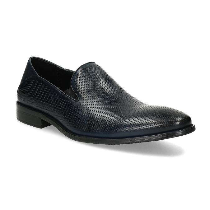 Pánské Loafers s perforací kožené bata, modrá, 816-9600 - 13