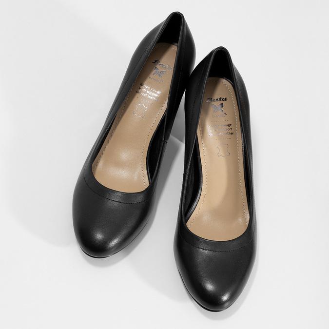 Kožené černé lodičky na stabilním podpatku insolia, černá, 624-6646 - 16