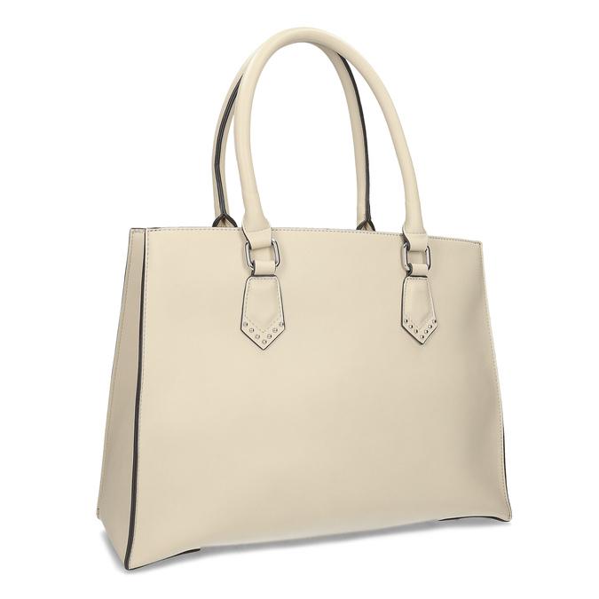 Dámská béžová kabelka s kovovými cvoky bata, béžová, 961-8962 - 13