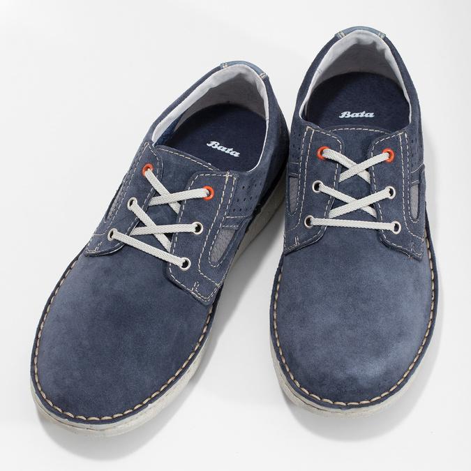 Modré pánské tenisky z broušené kůže bata, modrá, 823-9640 - 16