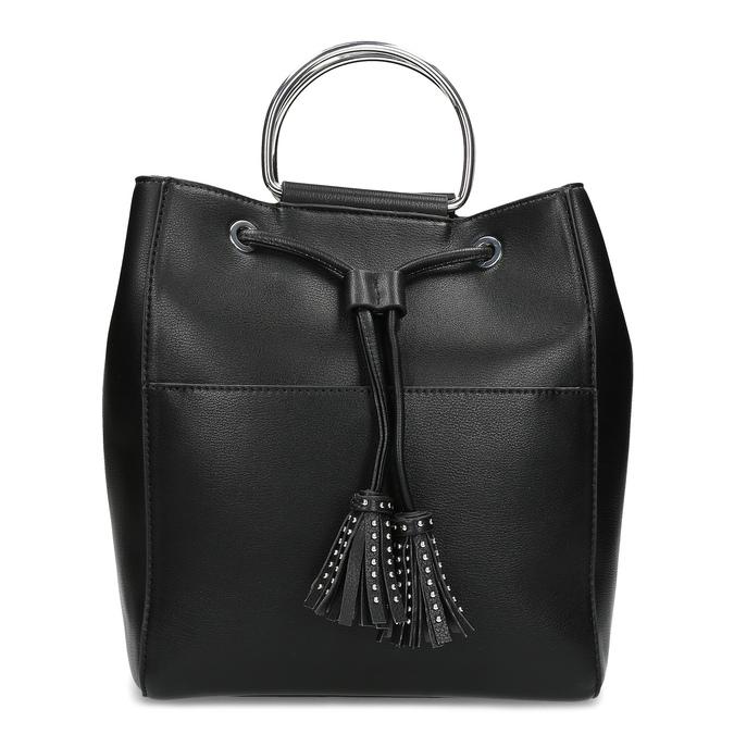 Černá kabelka se střapcem a kovovými uchy bata, černá, 961-6930 - 26