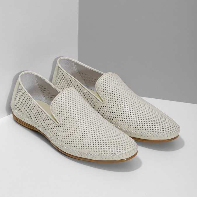 Bílé kožené pánské Loafers bata, bílá, 834-1627 - 26