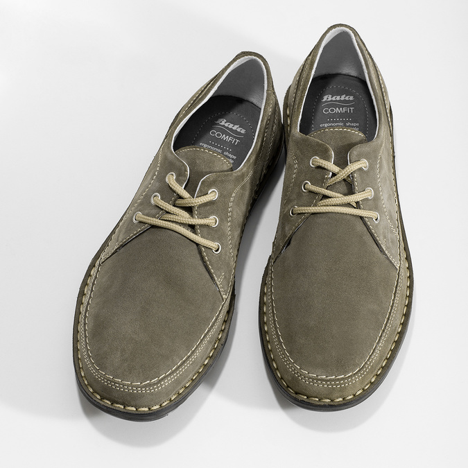 Pánské tenisky z broušené kůže zelené comfit, šedá, 843-8650 - 16