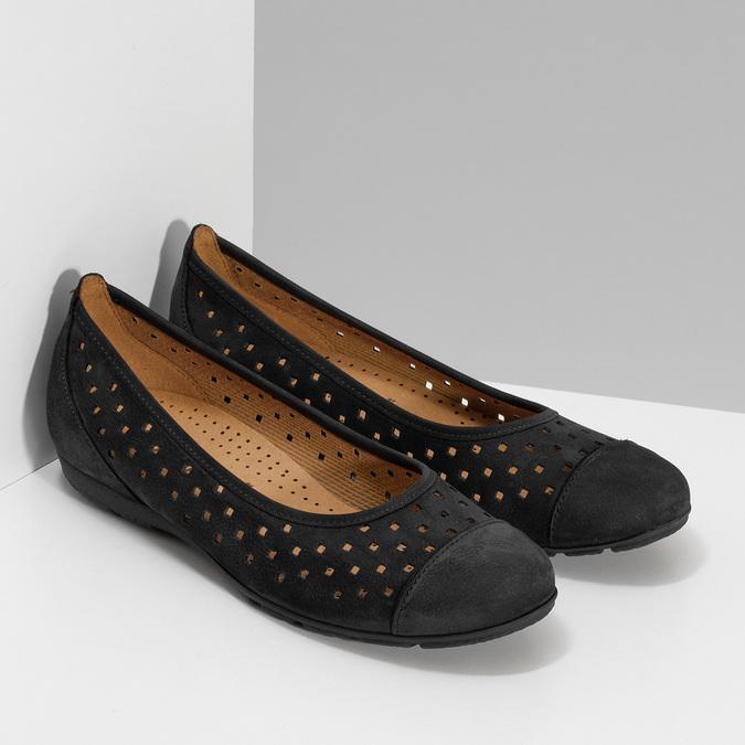 Černé perforované baleríny z broušené kůže gabor, černá, 516-6621 - 26