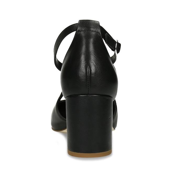 Kožené černé lodičky na stabilním podpatku pillow-padding, černá, 624-6650 - 15