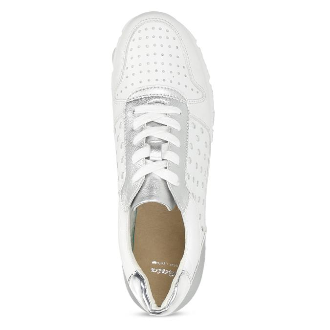 Bílo-stříbrné kožené dámské tenisky bata, bílá, 544-1600 - 17
