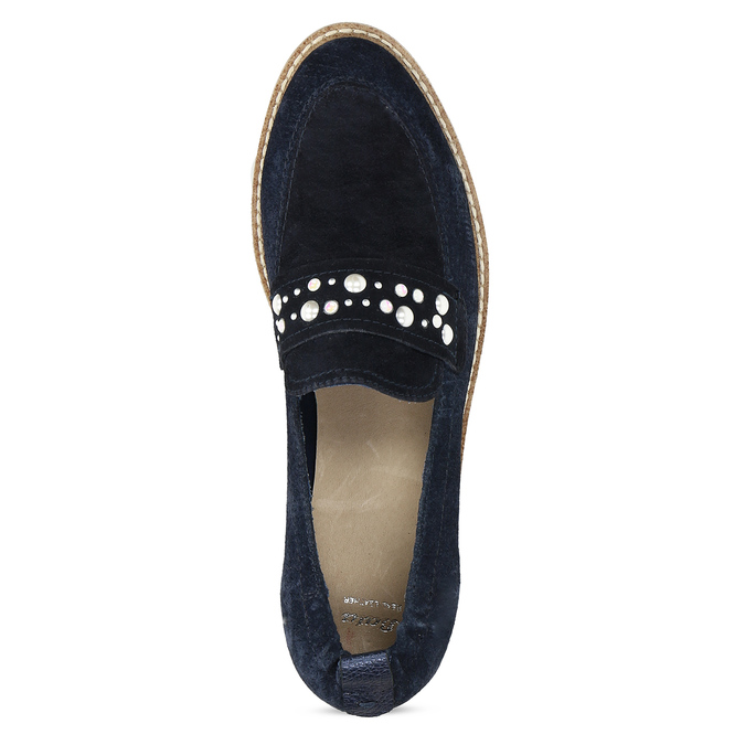 Kožené mokasíny s perličkami modré bata, modrá, 533-9605 - 17
