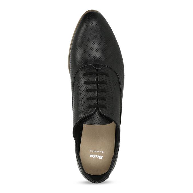 Kožené černé dámské polobotky s perforací bata, černá, 524-6671 - 17