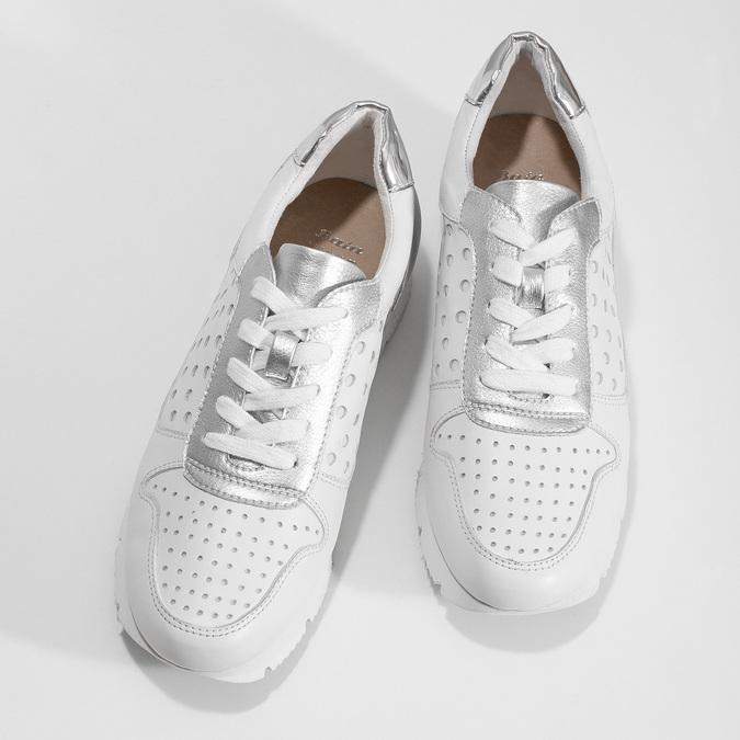 Bílo-stříbrné kožené dámské tenisky bata, bílá, 544-1600 - 16