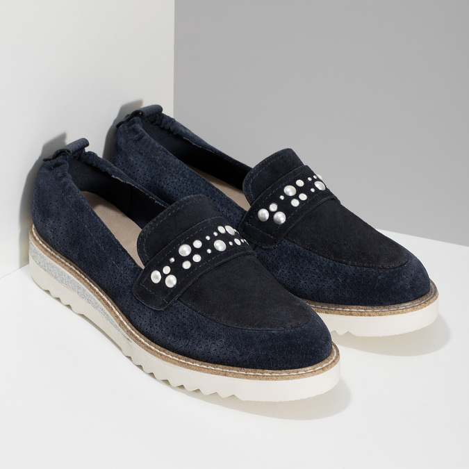 Kožené mokasíny s perličkami modré bata, modrá, 533-9605 - 26