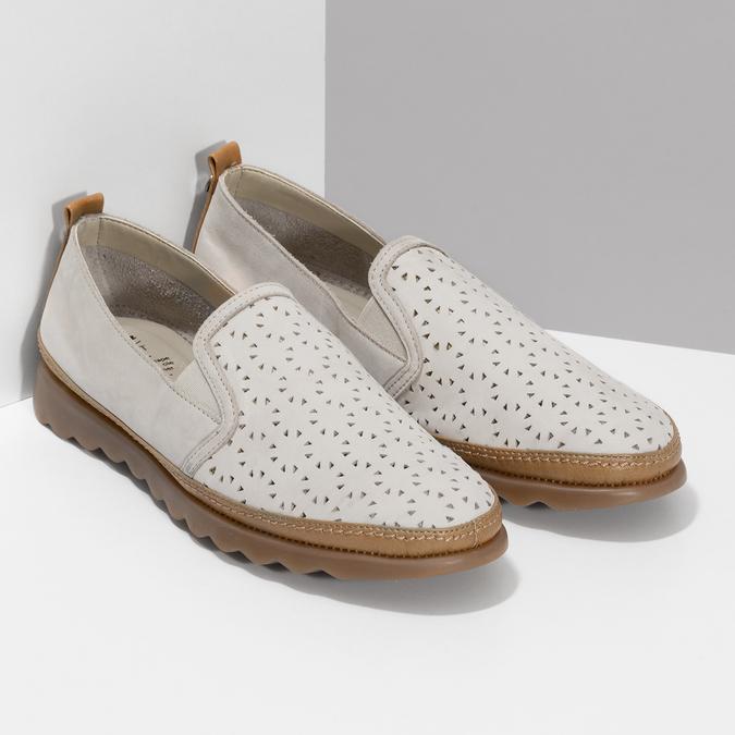 Béžová kožená Slip-on obuv s perforací comfit, béžová, 516-8614 - 26