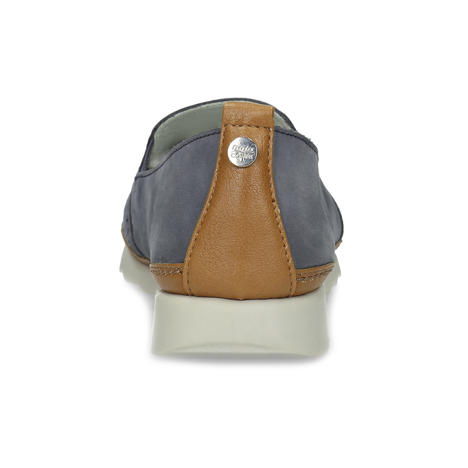 Dámská kožená Slip-on obuv s perforací comfit, modrá, 516-9614 - 15